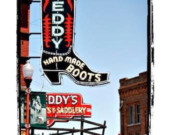 "Neon Cowboy Boot Sign Americana Art Print ""Leddy Hand Made Boots"""