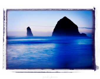 Haystack Rock at Cannon Beach Oregon Blue Ocean Scene Fine Art Print