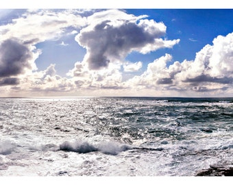 Depoe Bay Frothy Ocean Scape with Blue Sky and Clouds Panoramic 8 x 20 Print