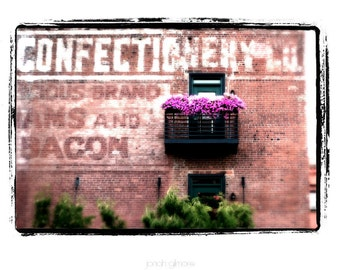"""Pink Old Commercial Building with Purple Flowers and Green Shrubs Americana Art Print """"Confectionary"""""""