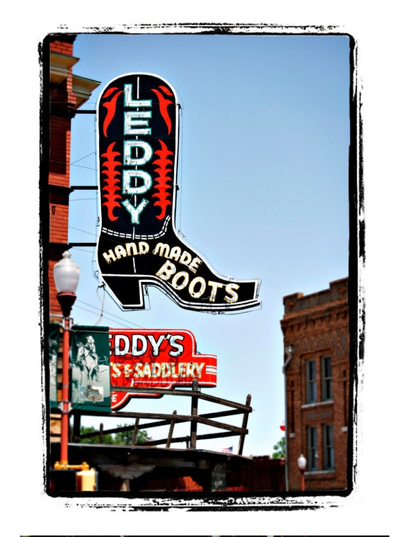 "Neon Cowboy Boot Sign Americana Art Print ""Leddy Hand Made Boots"""