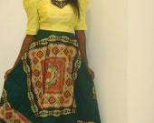 Yellow and Green Color-block Evening Dress (Available in sizes 4 - 10)