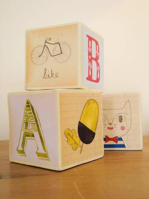 Alphabet blocks - set of 3 illustrated alphabet blocks