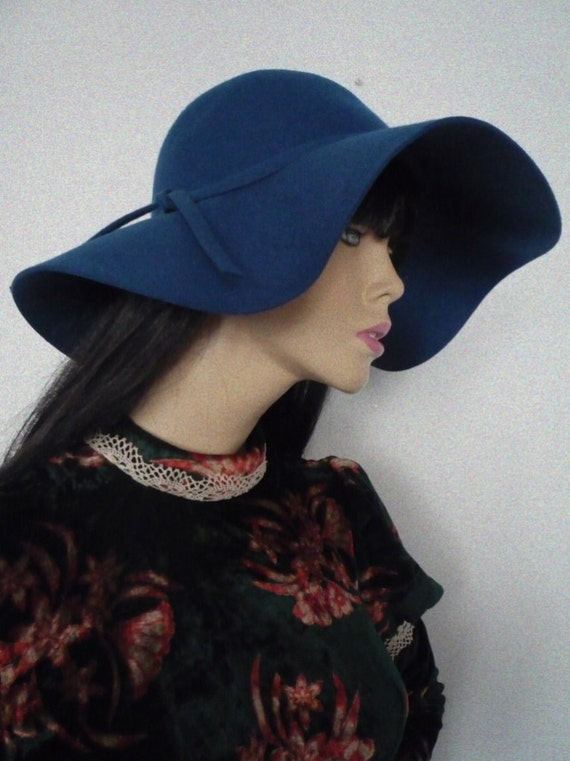 Beautiful 60s style petrol blue wide brim floppy hat