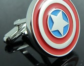 American captain shield cufflinks for friend's and dad gift