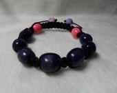 Purple Bracelet - Purple Rosy Wood And Flower Polymer Clay Macrame Pave Beaded Bracelet - Friendship Couple Lover Bracelet