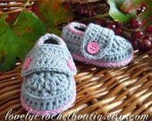 Crochet Baby Booties -  Loafers 100% Organic cotton Smokey Grey with Cactus Pink trim 0-3 months