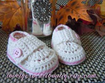 Crochet Baby Booties - Girl Loafers crochet 100% organic cotton off white cotton candy pink 0 - 3 months