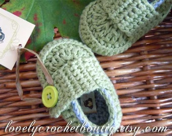Crochet Baby Booties boy - Loafers organic cotton Olive Green with smokey grey trim 0-6 months choose your color