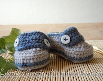 Crochet Baby boy Loafers Blue denim and grey Newborn - 6 months