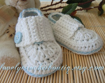 Crochet Baby Booties boy - Loafers organic cotton White with powder blue trim 0-3 months-ready to ship