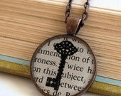 Skeleton Key Silhouette Book Art Resin Pendant Necklace- Pride and Prejudice