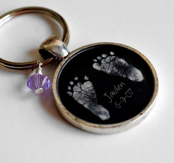 RESERVED Baby's Footprints and Birthstone Keepsake Resin Pendant Keychain- Valentine's Day, Mother's Day, New Baby, Father's Day, New Mom