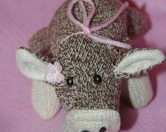 Handcrafted Mini Sock Monkey Pig