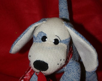 Handmade Blue Sock Monkey Puppy Dog