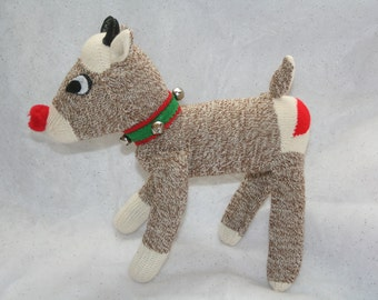 Handcrafted Sock Monkey Rudolph the red nosed Reindeer