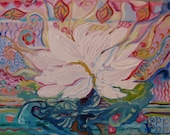Custom order for Beth - original mixed media painting on canvas - Love flower, lotus, floral, ornament.
