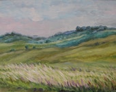 Original acrylic painting on stretched canvas, rural landscape, panorama, summer crop field, russia, country side, pastoral, forest.