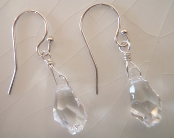 Swarovski Crystal Clear Polygon Briolette Drop Dangle Earrings