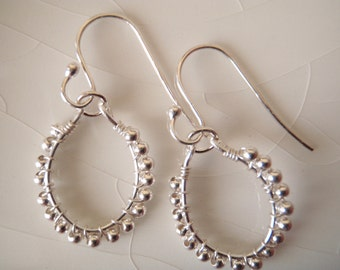 Tiny Sterling Silver Beaded/Wrapped Dangle Earrings