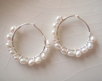 Small Wired Freshwater Seed Pearl & Sterling Silver Hoop Earrings