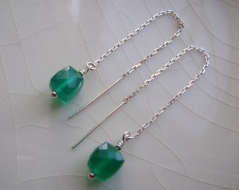 Tiny Green Onyx Faceted Cubes & Sterling Silver Threader/Ear Thread Dangle Earrings