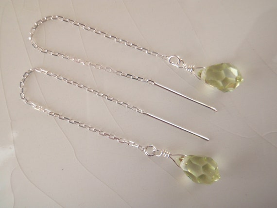 Ear Thread/Threader Earrings: Swarovski Crystal Jonquil/Peridot Briolette Drop Dangle Earrings