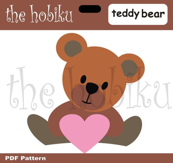make your own teddy bear template - items similar to pdf applique template teddy bear on etsy