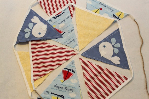 Whale Sailing Bunting Decoration (banner, garland), Boy's nautical decour, mariner fabric, pirate theme,