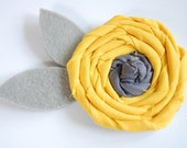 Sunflower Rosie - Rolled Gray Grey and Canary Yellow Fabric Flower with Felt Leaves - Headband Pin Brooch - Baby Girl Child Teen Adult Woman