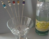 CUSTOM ORDER Cocktail set - 5 beaded stainless steel swizzle sticks & embroidered bar towel