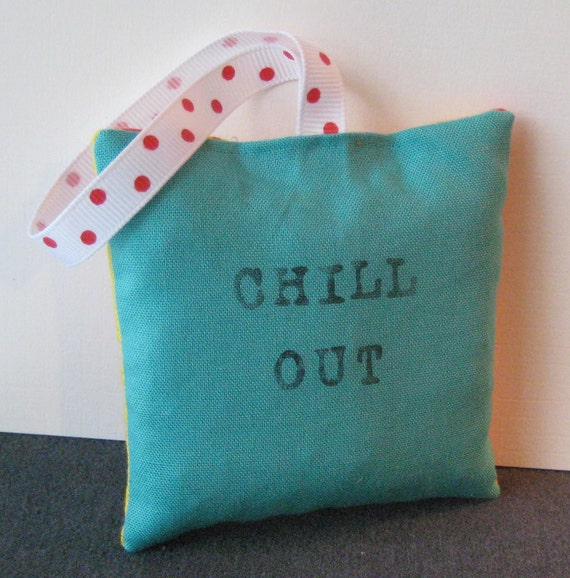 hanging lavender filled fabric sachet - chill out