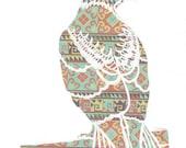 Original Papercut PRINT - Red Tailed Hawk