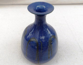 Vintage 70s, handmade pottery vase , cobalt blue and black