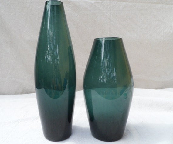 Retro  art glass vases in steel blue
