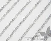C002-MR// Matt Original Rhodium Plated Small Cable Chain, 1M