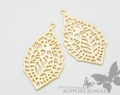 P010-MG// Matte Gold Plated Paisley Leaf Pendant, 2 Pc