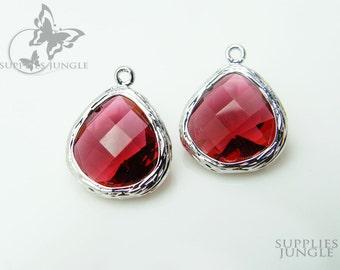 F100-S-RU // Rhodium Framed Ruby Glass Stone Pendant, 2 pcs
