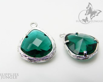 F100-S-EM// Rhodium Framed Emerald Faceted Glass Stone Pendant, 2 pcs