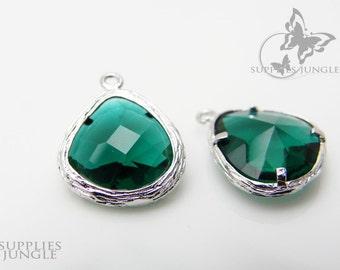 F100-S-EM// Rhodium Framed Emerald Faceted Glass Stone Pendant, 2 pcs