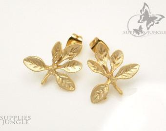 E109-01-MG// Matt Gold Plated Multi Leaf Earring Posts, 2pcs