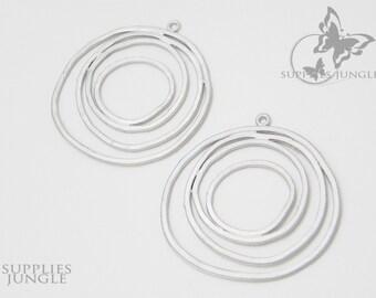 P002-MR// Matt Rhodiums Plated Round Pendant, 2pcs