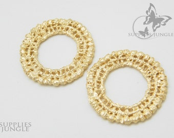 P049-MG// Matte Gold Plated Lace Pendant, 2 Pc