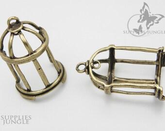 SALE!!! P063-AB// Antique Brass Plated Bird Cage Pendant, 2pcs