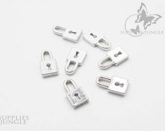 P061-R// Rhodium Plated Small Lock Pendant, 6pcs