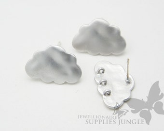 E120-01-MR// Matt Rhodium Plated Cloud Earring Post, 2 pcs