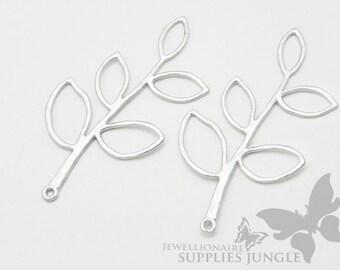 P004-01-MR// Matt Rhodium Plated Twig Charm, 2pcs