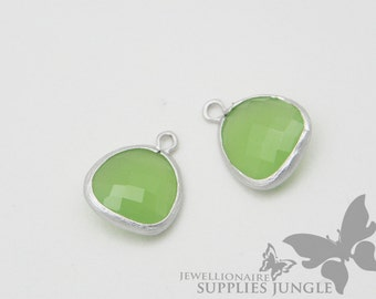 F102-MR-JD// Matt Original Rhodium Plated Framed Jade Pendant, 2Pc