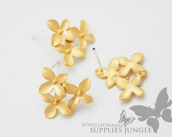 E112-MG// Matt Gold Plated Cherry Blossom Ear Post, 2pcs