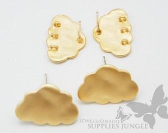 E120-01-MG// Matt Gold Plated Cloud Ear Post, 2 pcs